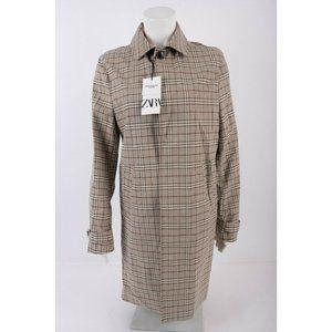 Zara Mens Plaid Trench Coat Jacket S Traveler NWT